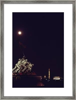 Night View Of The Iwo Jima Monument Framed Print by Kenneth Garrett