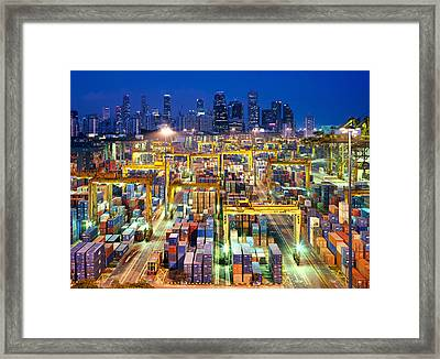 Night View Of The Port Of Singapore Framed Print by Justin Guariglia