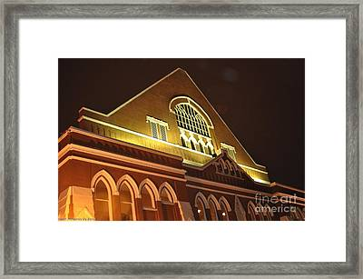 Night View Of The Ryman Framed Print