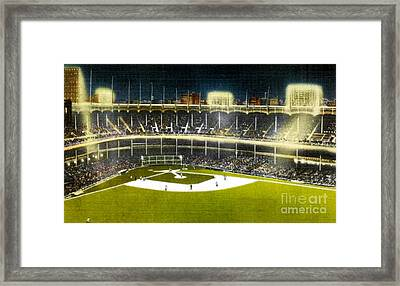 Night View Of Yankee Stadium In The 1950's Framed Print