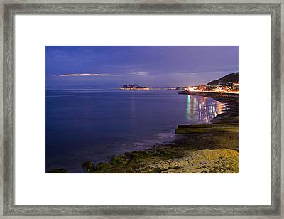 Night View Of Yuigahama Beach Framed Print