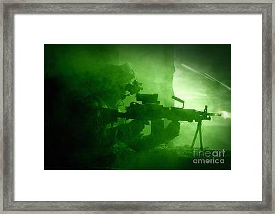 Night Vision View Of A U.s. Army Ranger Framed Print by Tom Weber