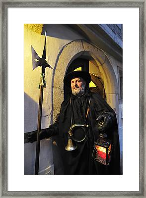 Night Watchman In Old Historic Town Framed Print by Matthias Hauser