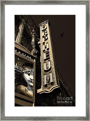 Nightfall At The Orpheum - San Francisco California - 5d17991 - Sepia Framed Print by Wingsdomain Art and Photography