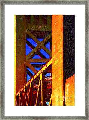Nightfall Over Sacramento In Abstract . Vision 2 Framed Print by Wingsdomain Art and Photography