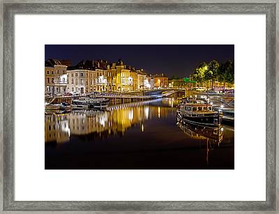 Nighttime Along The River Leie Framed Print