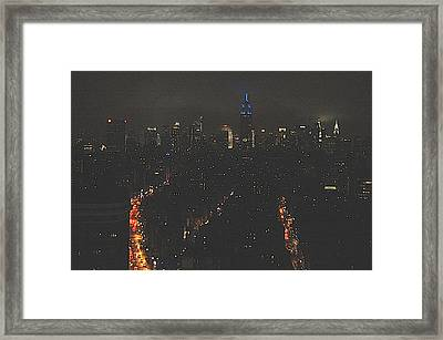 Nighttime Manhattan Skyline From Houston Street Framed Print