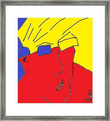Framed Print featuring the painting Nik On Computer by Anita Dale Livaditis