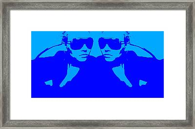 Niki Mirror Blue Framed Print by Naxart Studio