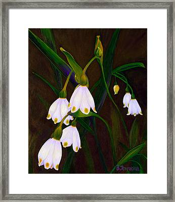 Framed Print featuring the painting Nina's Snowflake Bells by Jodi Terracina