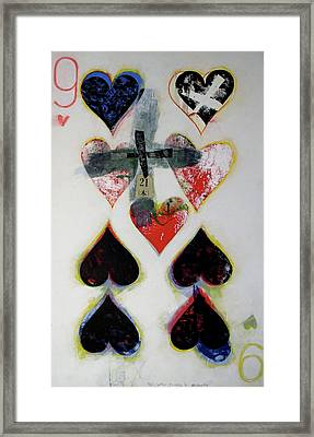 Framed Print featuring the painting Nine Of Hearts 21-52 by Cliff Spohn