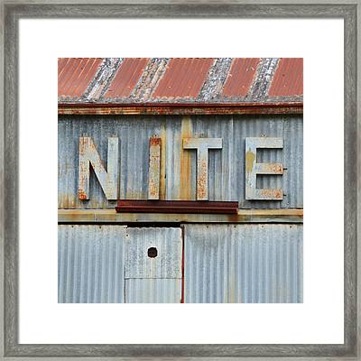 Nite Rusty Metal Sign Framed Print by Nikki Marie Smith