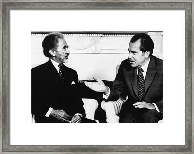 Nixon Presidency. Emperor Haile Framed Print by Everett