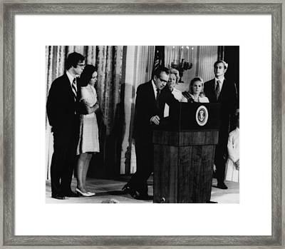 Nixon Presidency. From Left David Framed Print by Everett