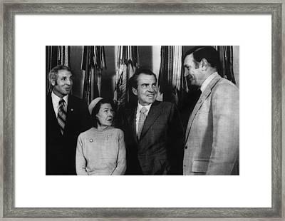 Nixon Presidency. From Left Former New Framed Print by Everett