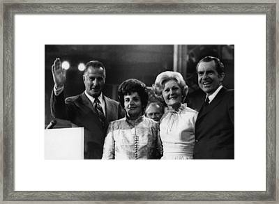 Nixon Presidency. From Left Us Vice Framed Print by Everett