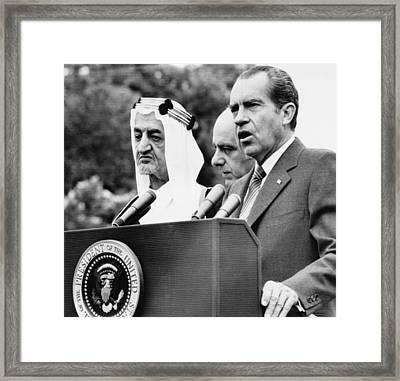 Nixon Presidency.  King Faisal Of Saudi Framed Print