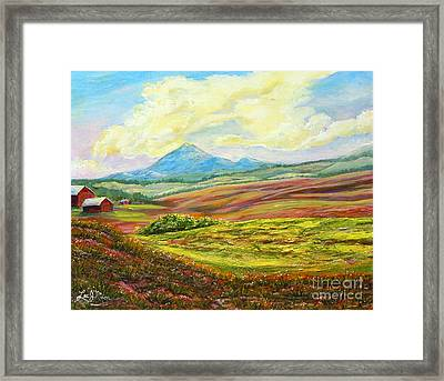 Nixon's Golden Light Converging Upon The Farm Framed Print