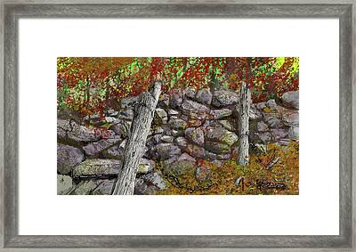 Framed Print featuring the drawing N.j. Rock Fence by Jim Hubbard