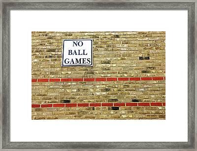 No Ball Games Framed Print by Richard Newstead