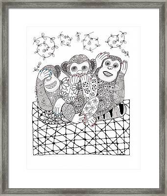 No Monkey Business Framed Print by Paula Dickerhoff