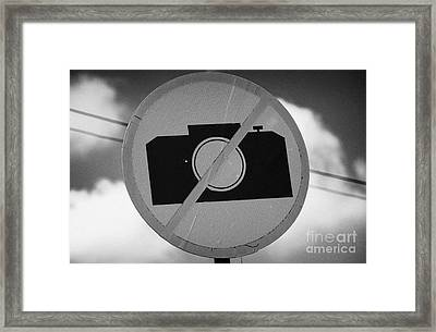 no photography sign at the greek cypriot army border post at the UN buffer zone green line cyprus Framed Print by Joe Fox