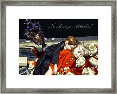 Framed Print featuring the painting No Strings Attached by Gregory Dyer