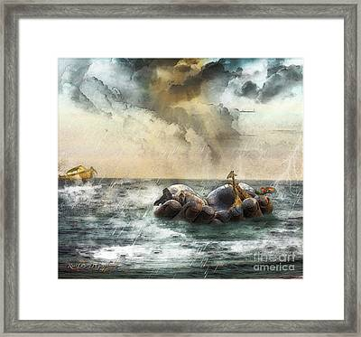 Framed Print featuring the digital art Noah's Ark Stragglers by Rhonda Strickland