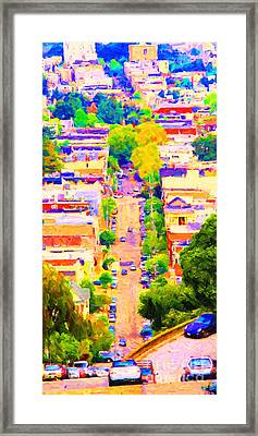 Noe Street In San Francsico 2 . Long Cut Framed Print by Wingsdomain Art and Photography