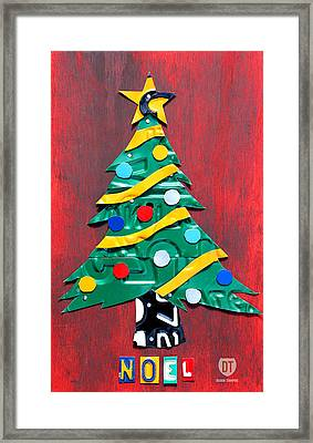 Noel Christmas Tree License Plate Art Framed Print