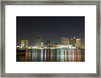 Framed Print featuring the pyrography Nola Nights by Ray Devlin