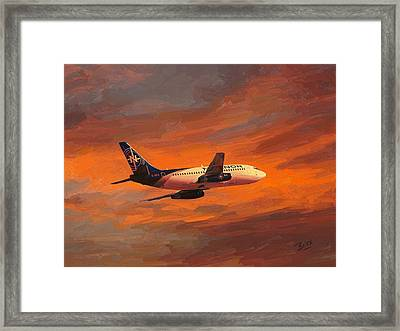 Nolinor Aviation Boeing 737 Leaves Montreal Mirabel Framed Print