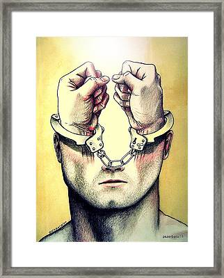 Normalize Pacify Contain Adapt Integrate Control And Adjust To Corrupt Society Framed Print by Paulo Zerbato