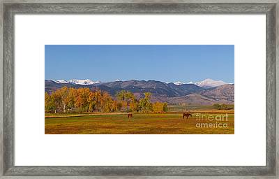 North Boulder County Colorado Front Range Panorama With Horses Framed Print