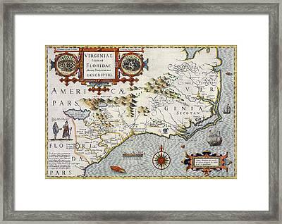 North Carolina Framed Print by Jodocus Hondius