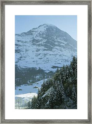 North Face Of The Eiger Towers Framed Print by Gordon Wiltsie