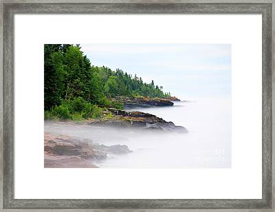North Shore Fog Framed Print by Perry Webster