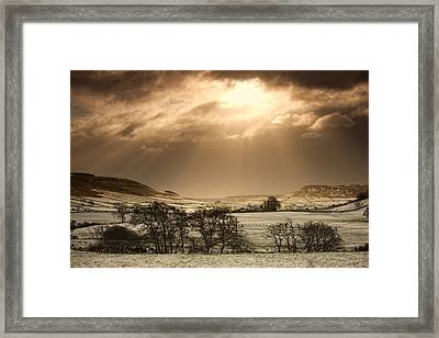 North Yorkshire, England Sun Shining Framed Print by John Short