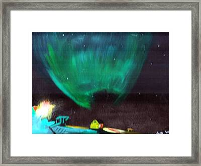 Framed Print featuring the painting Norther Lights 4 by Audrey Pollitt