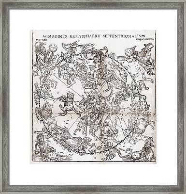 Northern Hemisphere Star Chart, 1537 Framed Print by Middle Temple Library