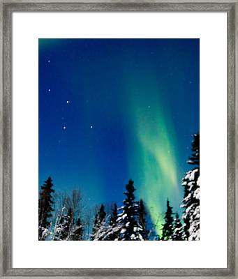Northern Light Spiral To Cassiopeia Framed Print by John Aldabe
