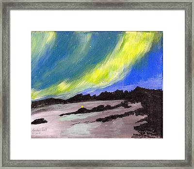 Framed Print featuring the painting Northern Lights 1 by Audrey Pollitt