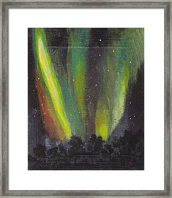 Framed Print featuring the painting Northern Lights 3 by Audrey Pollitt