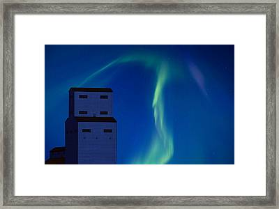 Northern Lights And Grain Elevator Framed Print by Mark Duffy