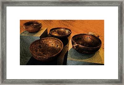 Norwegian Bowls Framed Print by Nina Fosdick