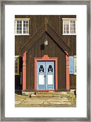 Norwegian Wooden Facade Framed Print by Heiko Koehrer-Wagner