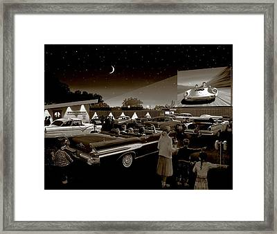 Nostalgic Drive In Theater Framed Print by Michael Swanson