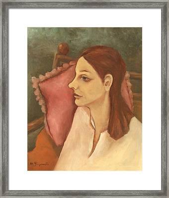 Nosy Woman With Red Pillow Framed Print by Rachel Hershkovitz
