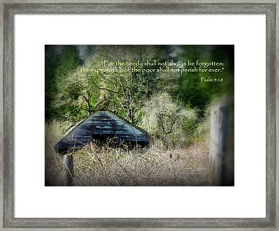Not Forgotten Barn Psalm Framed Print by Cindy Wright