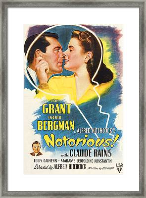 Notorious, Cary Grant, Ingrid Bergman Framed Print by Everett